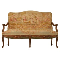 c.1880 Antique French Louis XV Needlepoint Settee