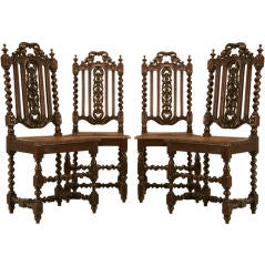 c.1875 Set of Four Antique French Carved Oak Side-Chairs