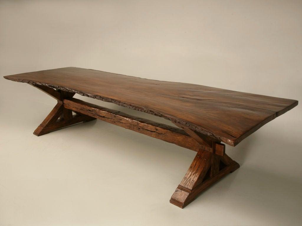 French Oak And Walnut Single Board Top Farm Table W Live