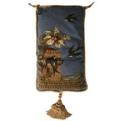 c.1880 Antique English Folk Art Hand-Beaded Victorian Pillow