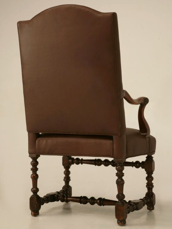 Restored 18th C. Antique French Leather Throne Chair For Sale 5