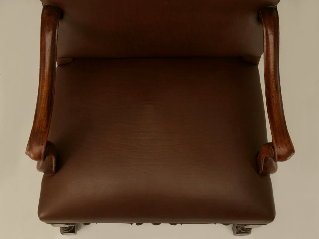18th Century and Earlier Restored 18th C. Antique French Leather Throne Chair For Sale