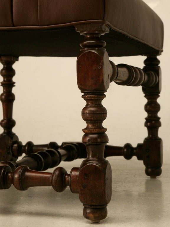 Restored 18th C. Antique French Leather Throne Chair For Sale 3