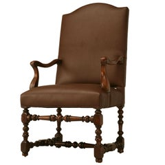Antique French Leather Armchair in Walnut with Brown Leather, Restored