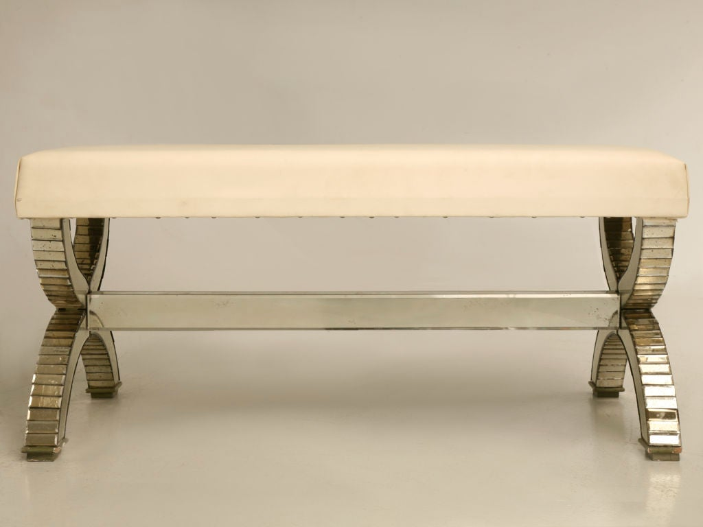 Glamorous Vintage French Hollywood Style Mirrored Bench At 1stdibs