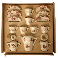 c.1940 Vintage French Hand-Painted Child's Tea Set