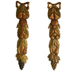 c.1920 Pair of Vintage French Carved Wood Fruit Decorations