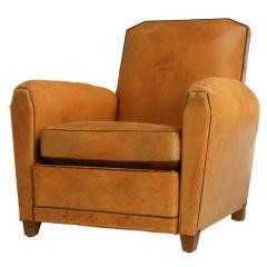 c.1930 Original Vintage French Art Deco Leather Club Chair