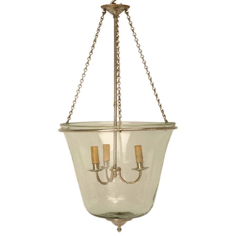 C1950 vintage french 3 light glass bell jar chandelier at 1stdibs c1950 vintage french 3 light glass bell jar chandelier for sale aloadofball Images