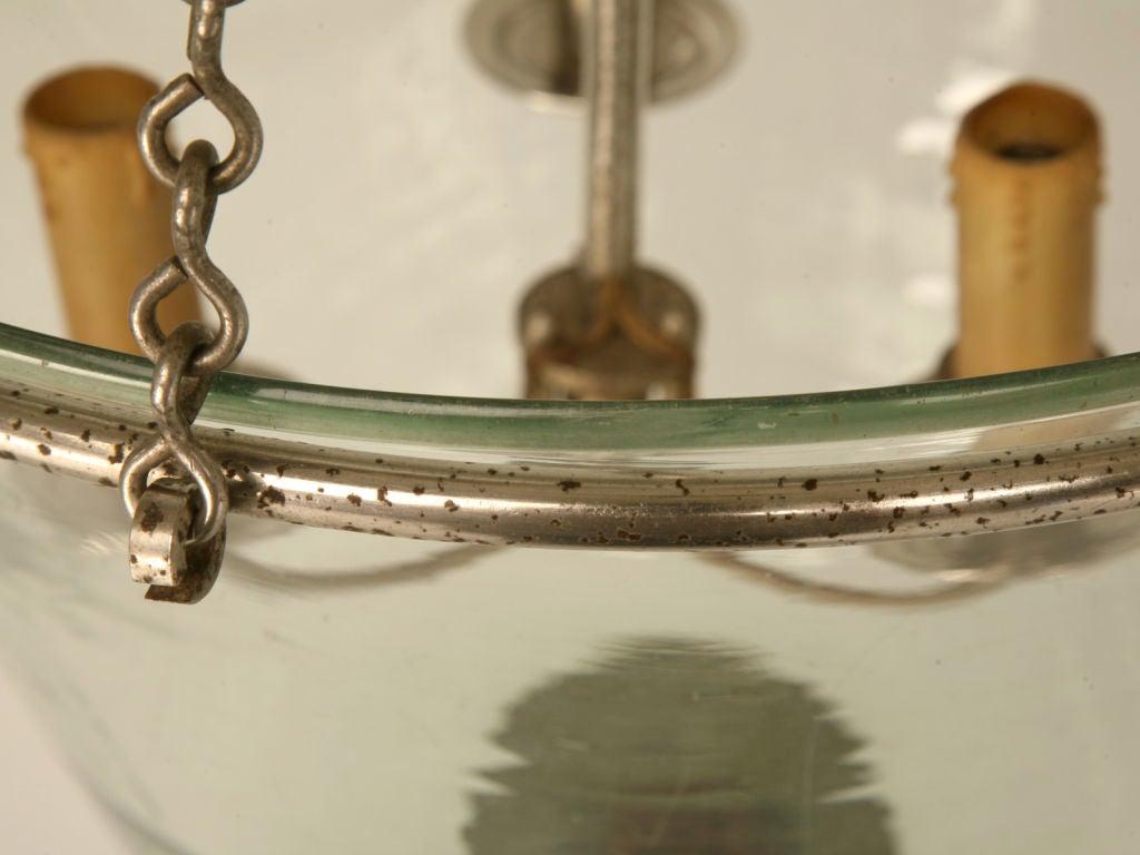 C 1950 Vintage French 3 Light Glass Bell Jar Chandelier At