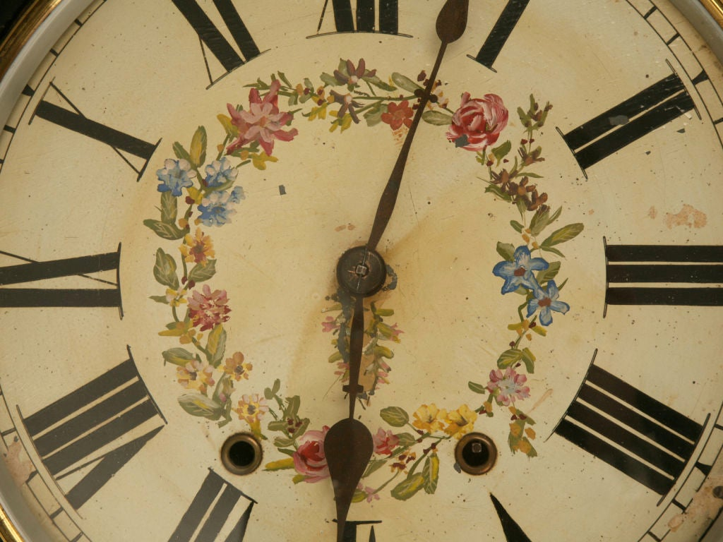 c.1870 Antique English Papier Mâché Clock w/Mother of Pearl at 1stdibs