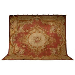 Palatial Original Antique French Aubusson Rug
