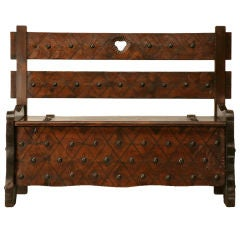 Spanish Hand Carved Pine Settle w/Rustic Charm
