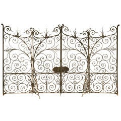 Large Antique French Hand Wrought Iron Gates w/Sides