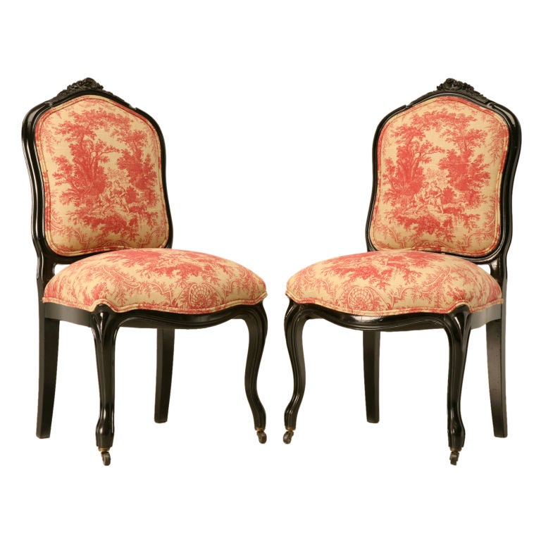 Restored Pair Of Antique French Napoleon Iii Hall Chairs