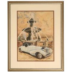 c.1946 Original Watercolor of a Bugatti Royale by Pierre Clairin
