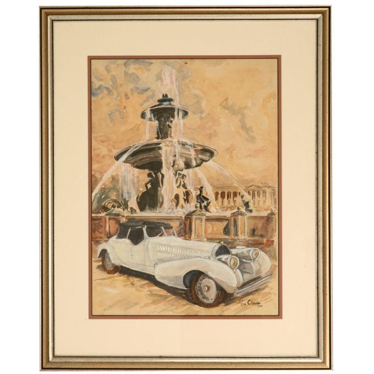 Original Watercolor of a Bugatti Royale by Pierre Clairin, circa 1946