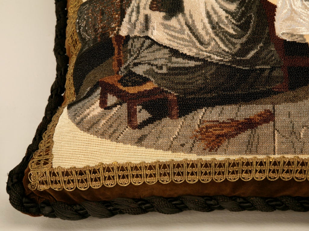 c.1880 The Best Antique English Folk Art Hand-Beaded Pillow Ever For Sale 2