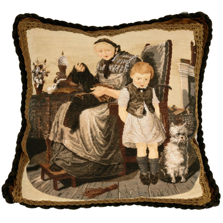 c.1880 The Best Antique English Folk Art Hand-Beaded Pillow Ever For Sale