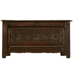 Original Antique French Hand-Carved Oak Coffer