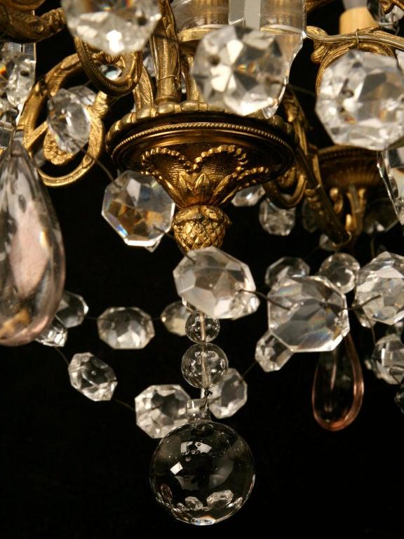 Vintage French Gilt Bronze And Crystal 4 Light Chandelier