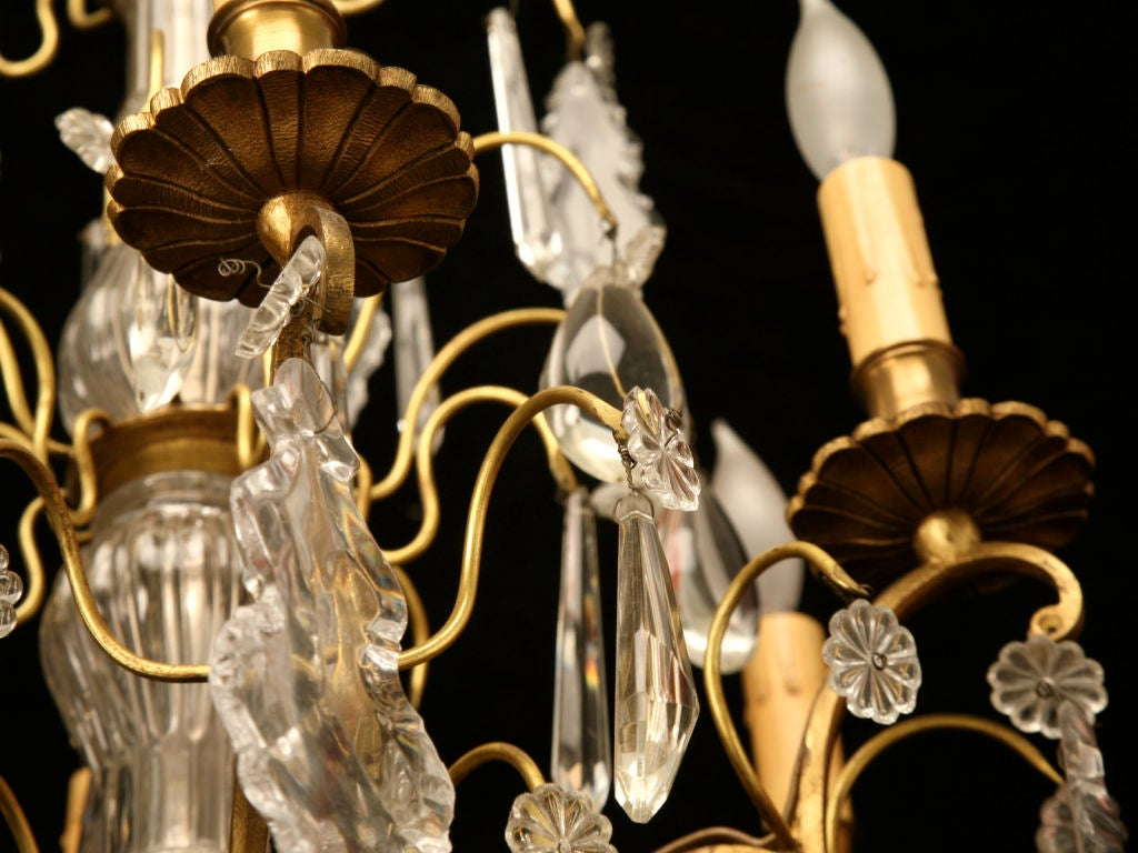 Stunning Vintage French Crystal 6 Light Chandelier At 1stdibs
