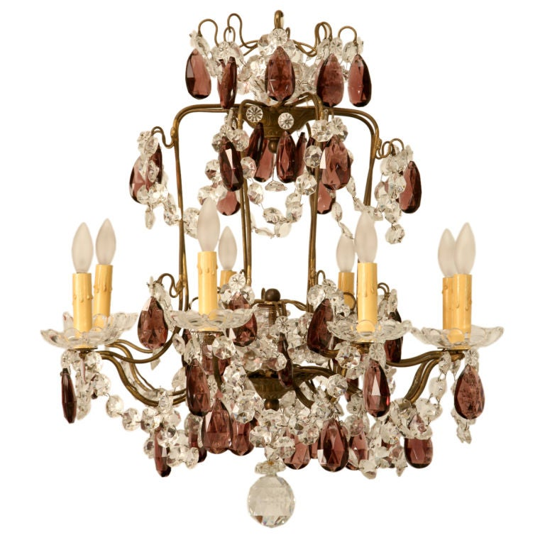 C 1930 French Bronze And Crystal 8 Light Chandelier W