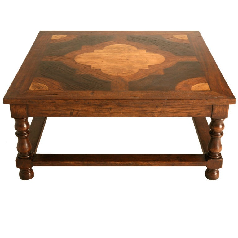 43 Square Walnut Oak Mahogany And Satinwood Coffee Table At 1stdibs