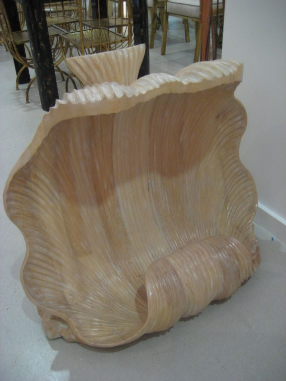 Pair of large carved wood bases with scrolling shell motif