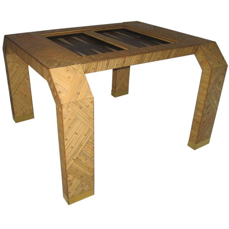 italian bamboo backgammon table at 1stdibs. Black Bedroom Furniture Sets. Home Design Ideas