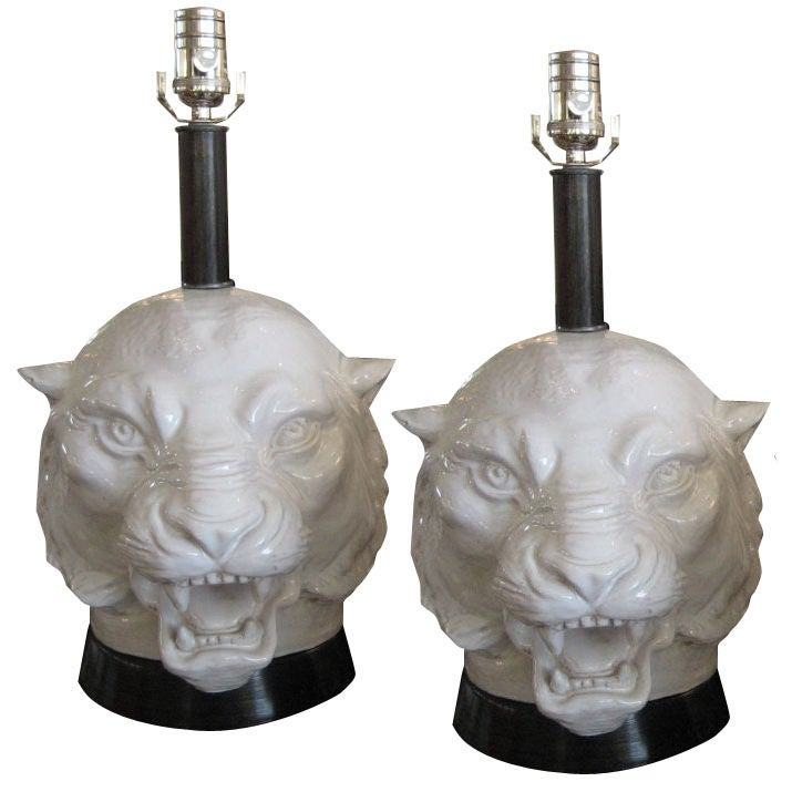 Pair Of White Lion Head Lamps At 1stdibs