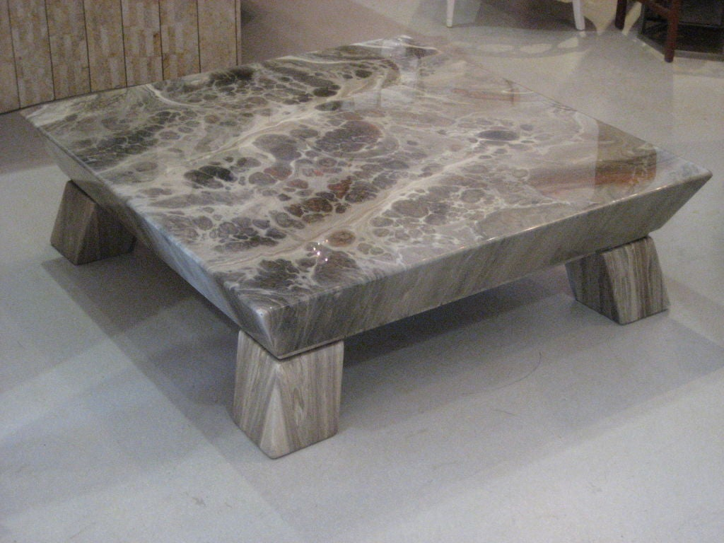 Faux stone geometric coffee table at 1stdibs Stone coffee table