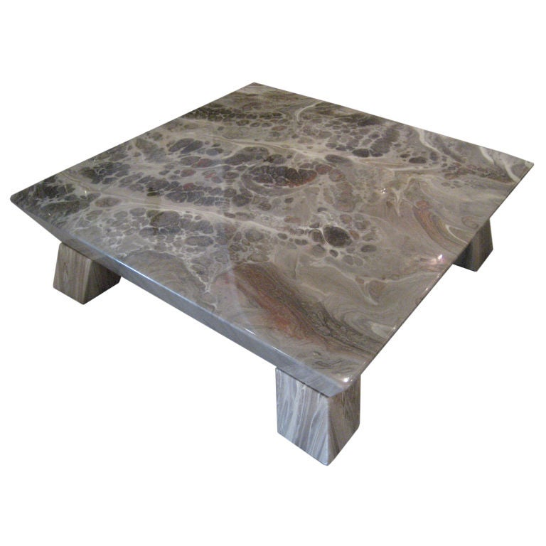 Faux stone geometric coffee table at 1stdibs for Geometric coffee table