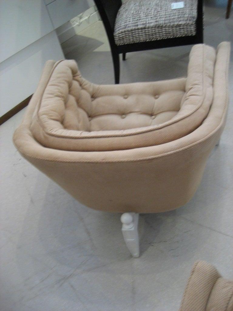 Pair Of Unusual Three Legged Tub Chairs At 1stdibs