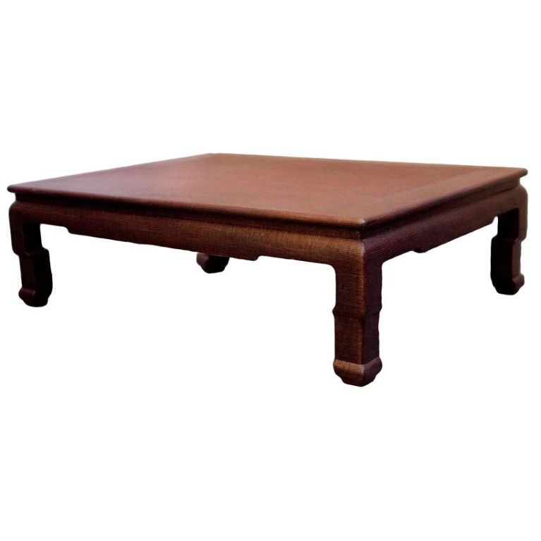 A Lacquered Linen Covered Coffee Table At 1stdibs
