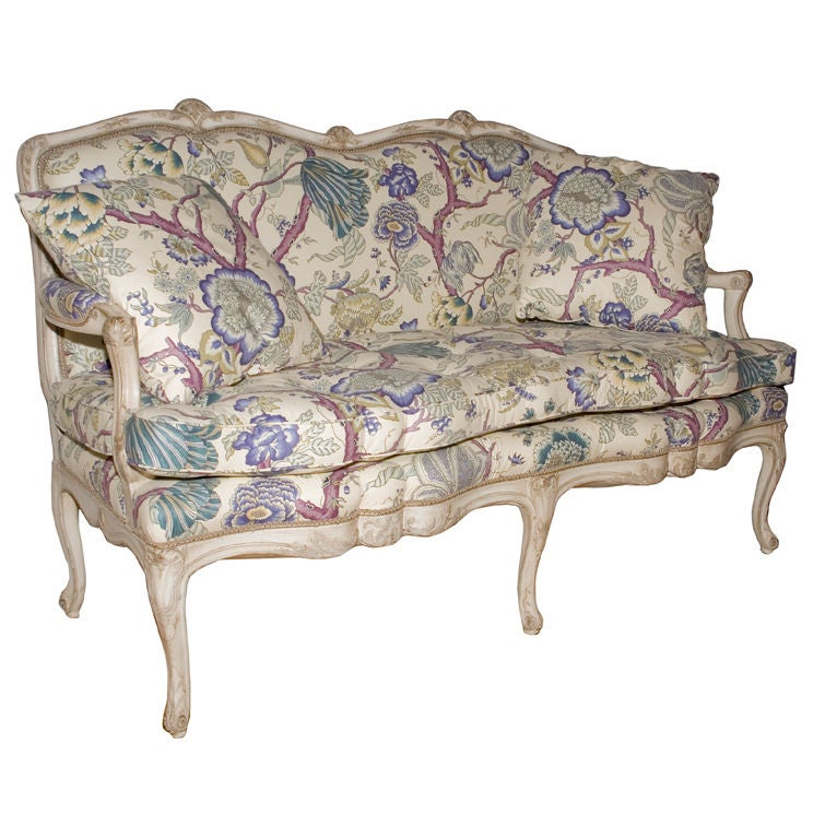 A French Louis XV Style Painted Settee 1