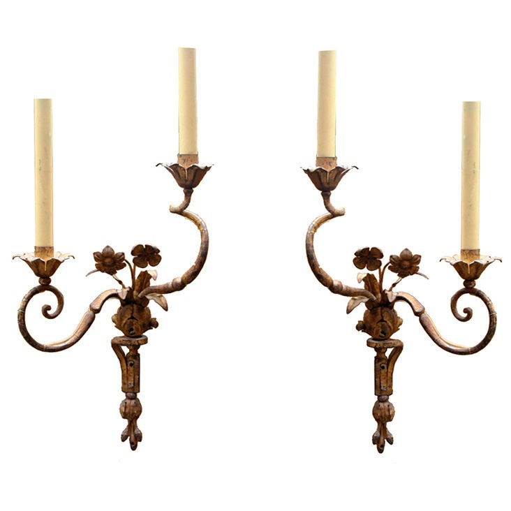 French Iron Wall Sconces : French Gilt Iron Sconces at 1stdibs