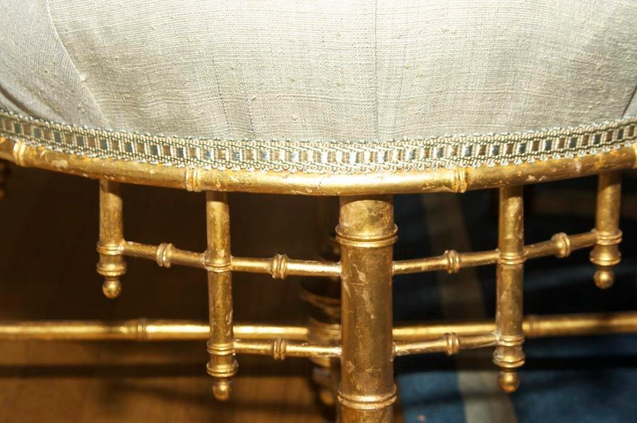 A French Napoleon III Style Faux Bamboo Ottoman 2