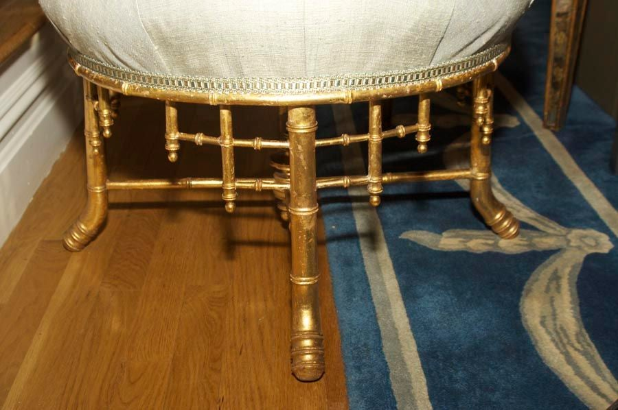 A French Napoleon III Style Faux Bamboo Ottoman 4