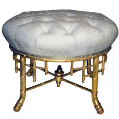A French Napoleon III Style Faux Bamboo Ottoman