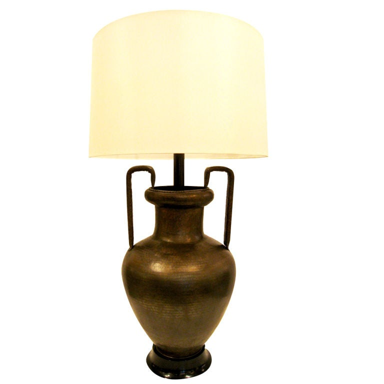 Large Hand Hammered Bronze Table Lamp