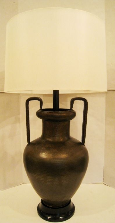 Large Hand Hammered Bronze Table Lamp For Sale at 1stdibs