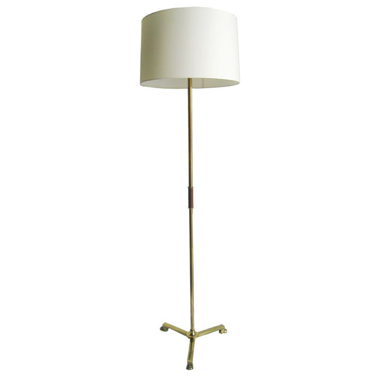 French Brass and Leather Floor Lamp