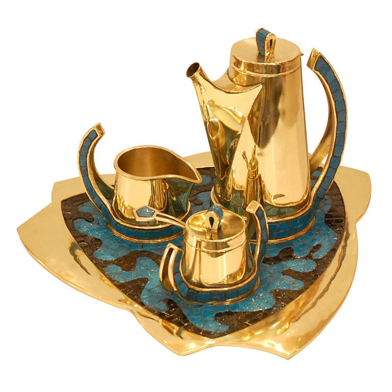 Salvador Teran Brass and Mosaic Coffee Service