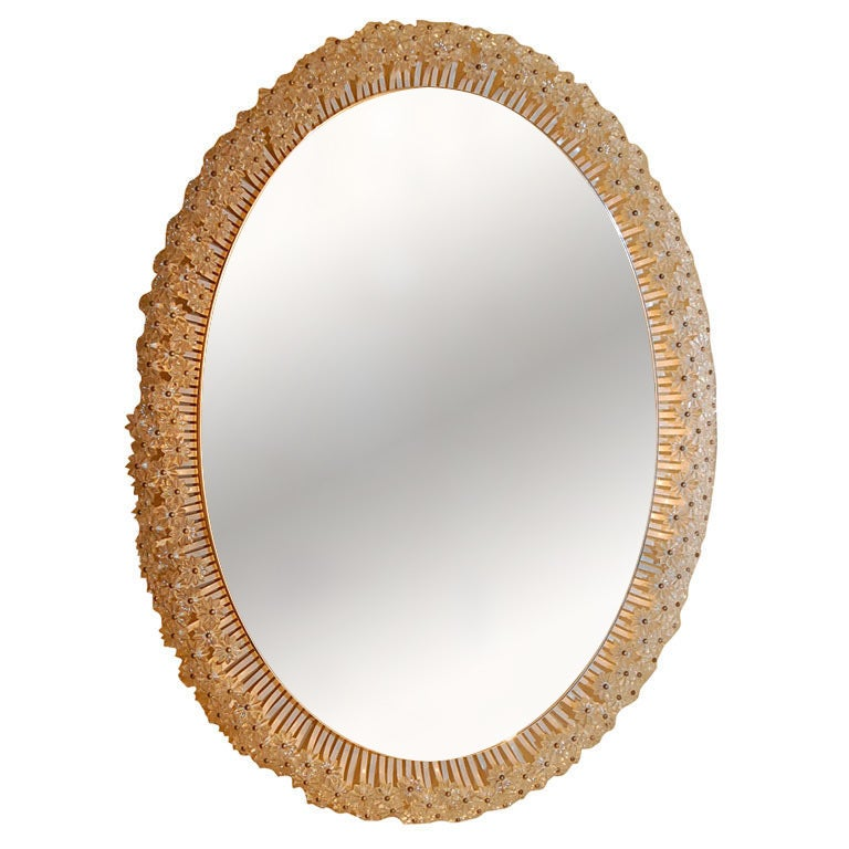 French Oval Mirror with Glass Flower Decoration 1