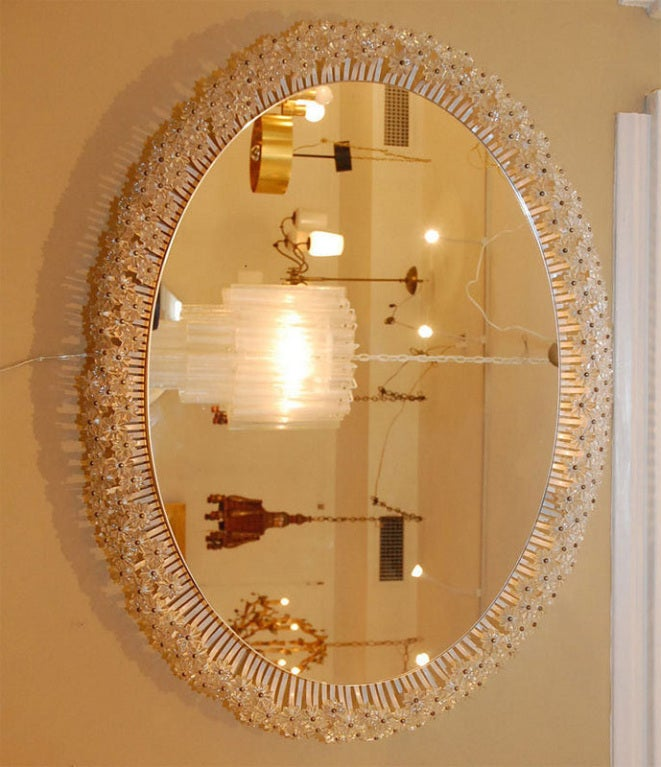 French Oval Mirror with Glass Flower Decoration 2