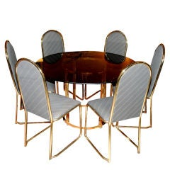 1960's Italian Round Table With Six Chairs