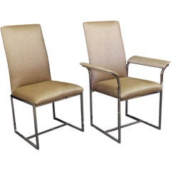 Two Sets of 6 High Back Dining Chairs by Milo Baughman