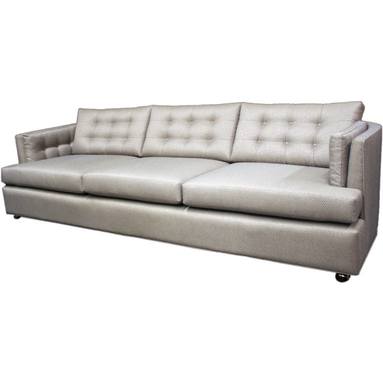 Large Three Seat Tufted Sofa With Sculptural Rounded Back At 1stdibs