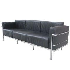 A Black Leather Three Seat LC3 Le Corbusier  Sofa